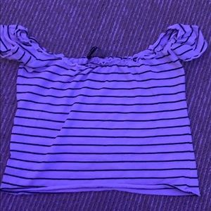 Brandy Melville off the shoulder striped crop top